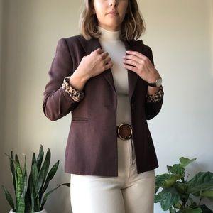 Vintage Burgundy Blazer with Leopard Print Lining